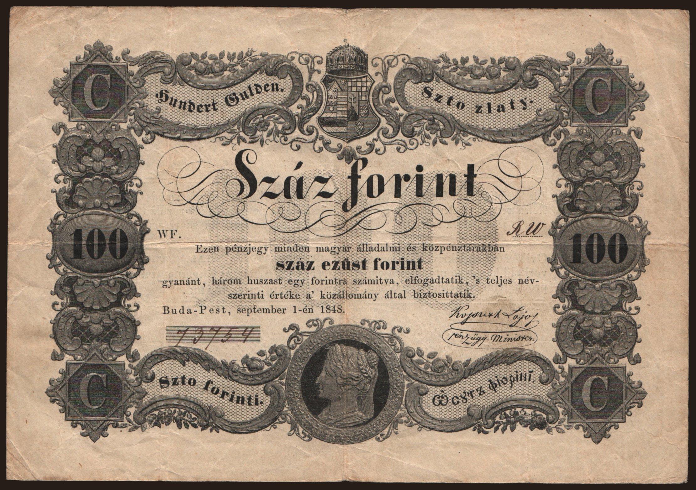 100 forint, 1848