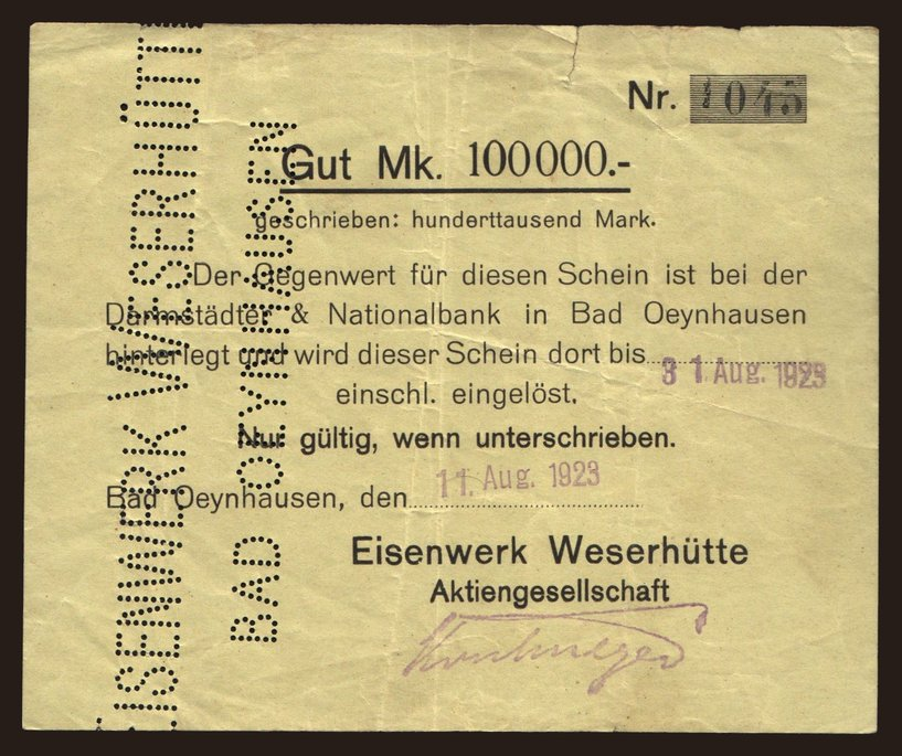 Bad Oeynhausen Eisenwerk Weserhutte A G 100 000 Mark 1923