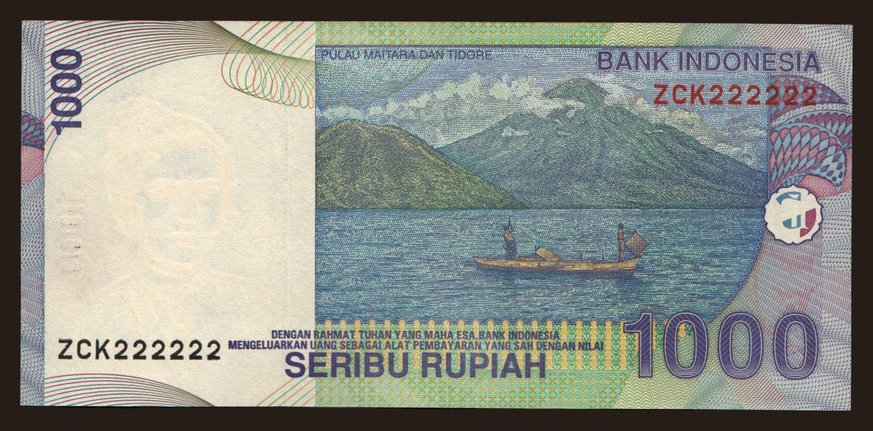1000 rupiah, 2000, fancy number, Notafilia-KP, Asia