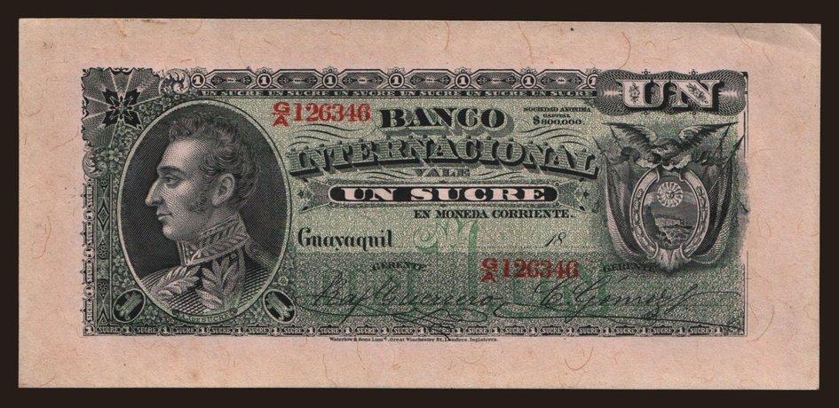 Banco internacional 1 sucre 18xx notafilia kp america for Banco internacional