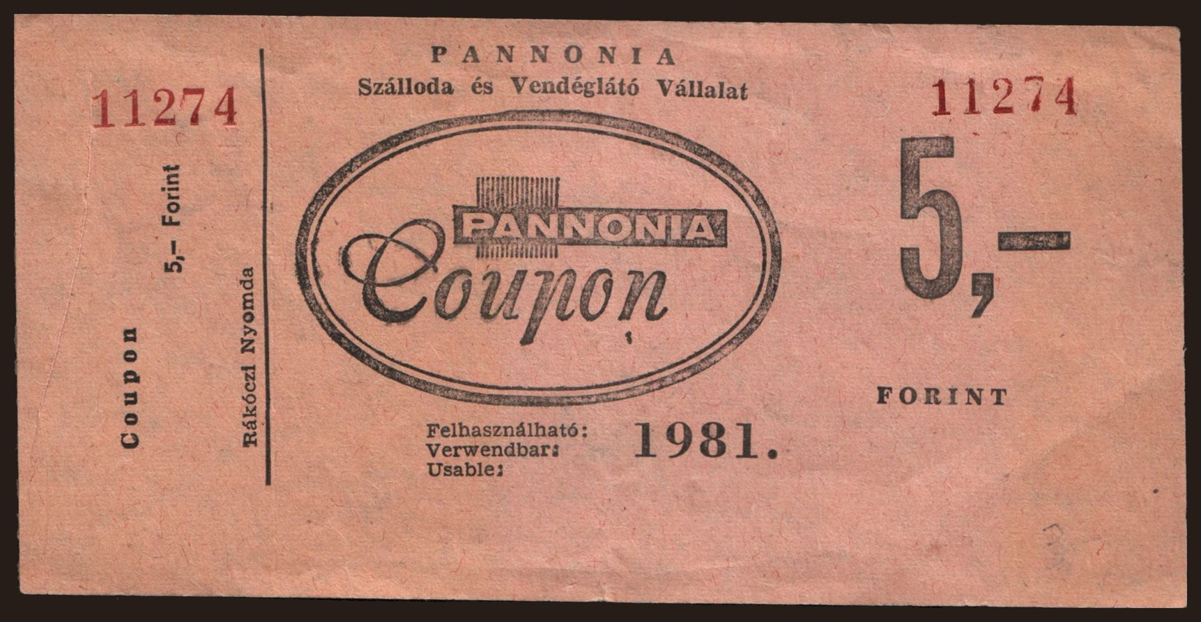 Budapest/ Pannonia, 5 forint, 1981