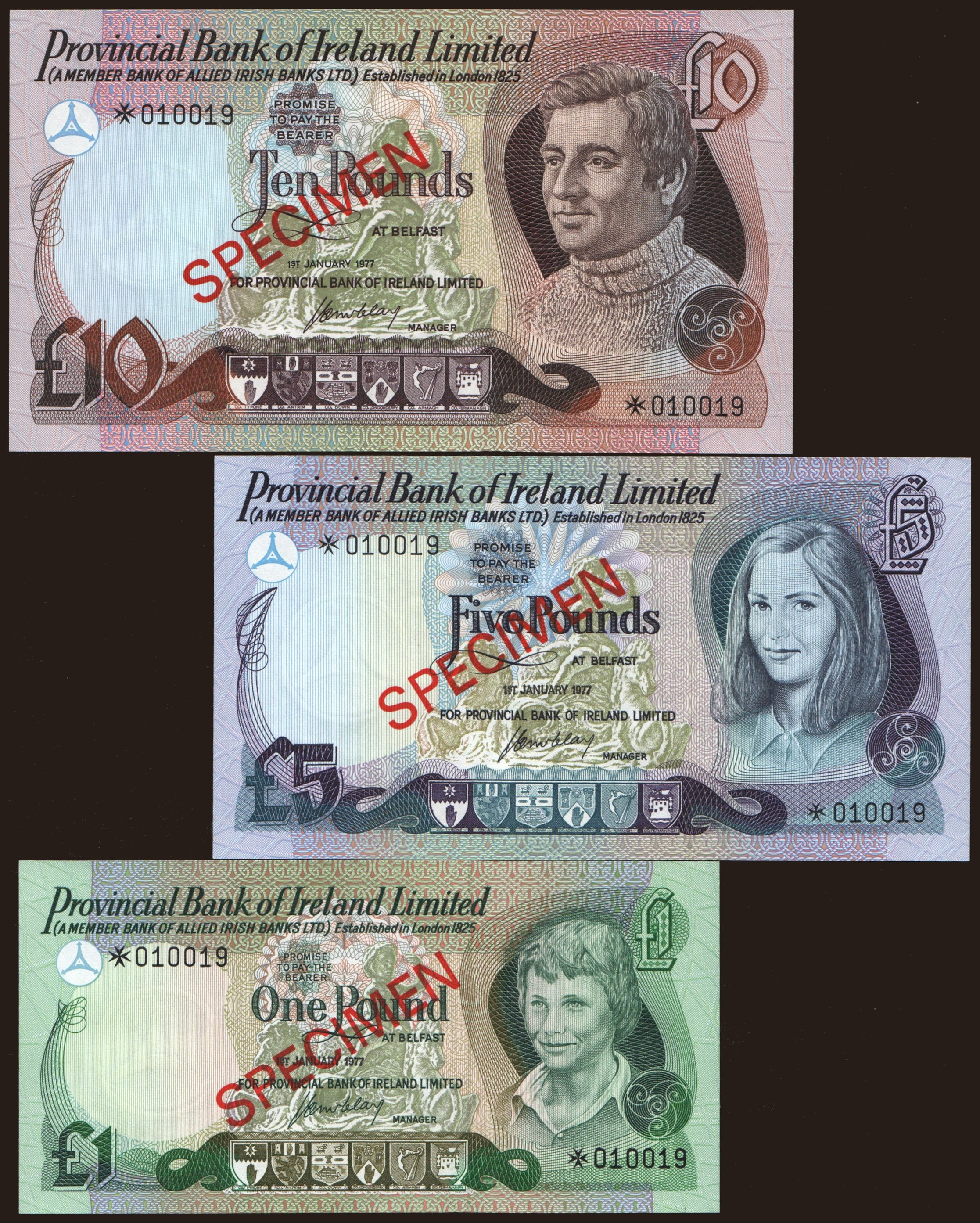 Provincial Bank of Ireland, 1 - 10 pound, 1977, SPECIMEN
