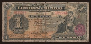 Banco de Londres y Mexico, 1 peso, 1914