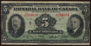 Imperial Bank of Canada, 5 dollars, 1934