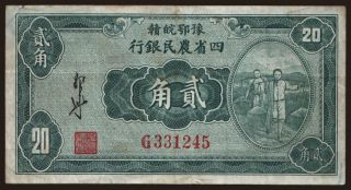Agricultural Bank of the Four Provinces, 20 cents, 1933