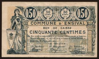 Ensival, 50 centimes, 1914