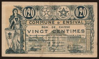 Ensival, 20 centimes, 1914