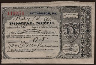 Postal Note, 5 cents, 1890