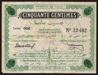 50 centimes, 1918
