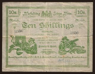 Mafeking, 10 shillings, 1900