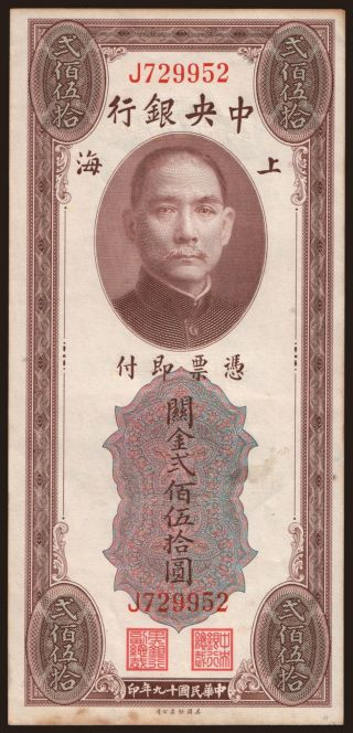 Central Bank of China, 250 gold units, 1930