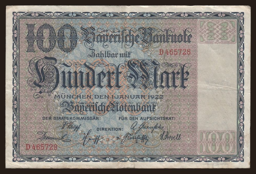 Bayerische Notenbank, 100 Mark, 1922